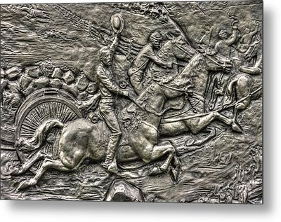 Bringing Up The Battery Detail-b 6th New York Independent Battery Horse Artillery Gettysburg Autumn Metal Print by Michael Mazaika