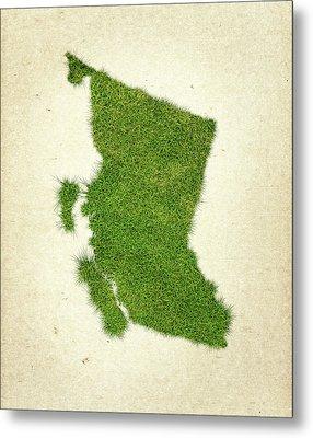 British Columbia Grass Map Metal Print by Aged Pixel
