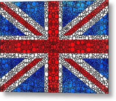 British Flag - Britain England Stone Rock'd Art Metal Print by Sharon Cummings