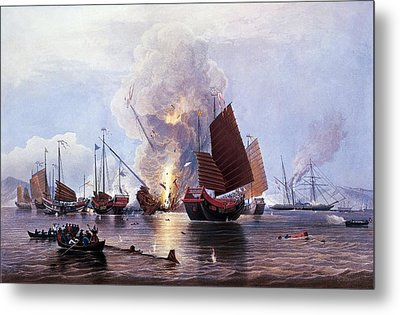 British Ships Destroying An Enemy Fleet In Canton Metal Print by Anonymous