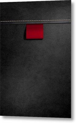 Broad Clothing Label In Black Leather Metal Print by Allan Swart