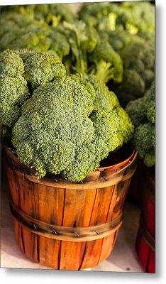 Broccoli In Baskets Metal Print by Teri Virbickis