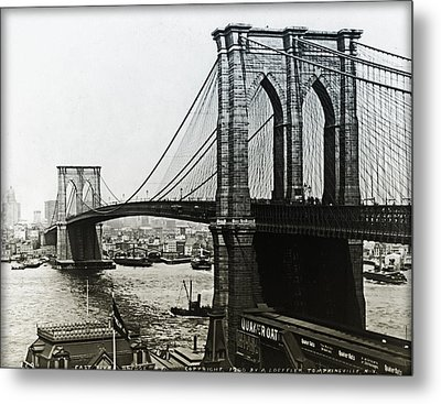 Brooklyn Bridge 1900 Metal Print by Digital Reproductions
