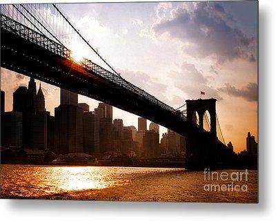 Brooklyn Bridge And Skyline Manhattan New York City Metal Print by Sabine Jacobs