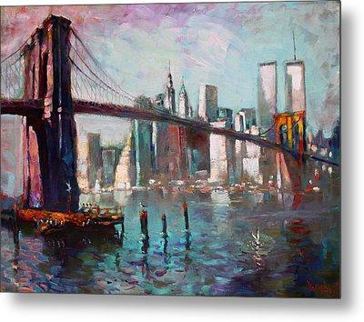 Brooklyn Bridge And Twin Towers Metal Print by Ylli Haruni