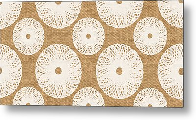 Brown And White Floral Metal Print by Linda Woods