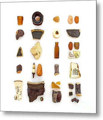 Brown China And Amber Sea Glass Metal Print by Jennifer Booher