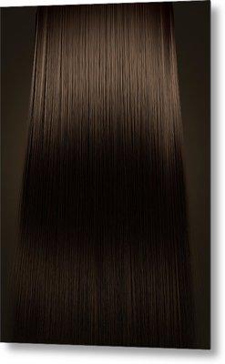 Brown Hair Perfect Straight Metal Print by Allan Swart