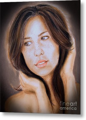 Brown Haired And Lightly Freckled Beauty Fade To Black Version Metal Print by Jim Fitzpatrick