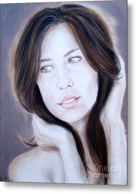 Brown Haired And Lightly Freckled Beauty Metal Print by Jim Fitzpatrick