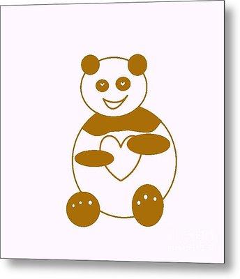 Brown Panda Metal Print by Ausra Huntington nee Paulauskaite