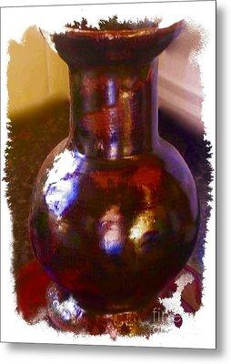Brown Vase Design Metal Print by Joan-Violet Stretch