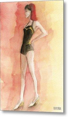 Brown Vintage Bathing Suit 3 Fashion Illustration Art Print Metal Print by Beverly Brown