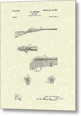 Browning Bolt Gun 1899 Patent Art Metal Print by Prior Art Design