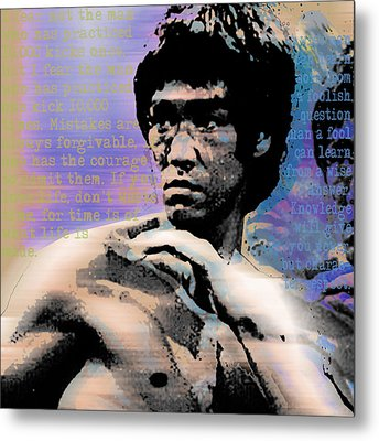 Bruce Lee And Quotes Square Metal Print by Tony Rubino