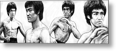 Bruce Lee Art Drawing Sketch Poster Metal Print by Kim Wang