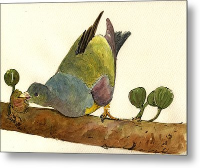 Bruce S Green Pigeon Metal Print by Juan  Bosco