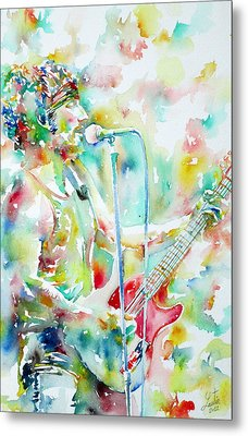 Bruce Springsteen Playing The Guitar Watercolor Portrait.1 Metal Print by Fabrizio Cassetta