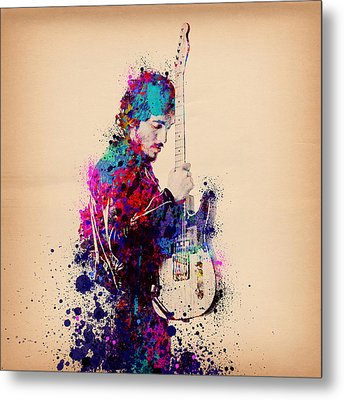 Bruce Springsteen Splats And Guitar Metal Print by Bekim Art