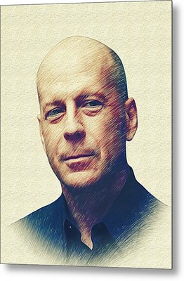 Bruce Willis Metal Print by Marina Likholat