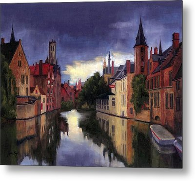 Bruges Belgium Canal Metal Print by Janet King