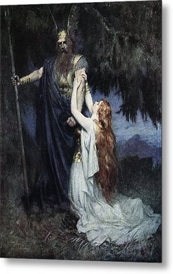 Brunhilde Knelt At His Feet, From The Metal Print by Ferdinand Leeke