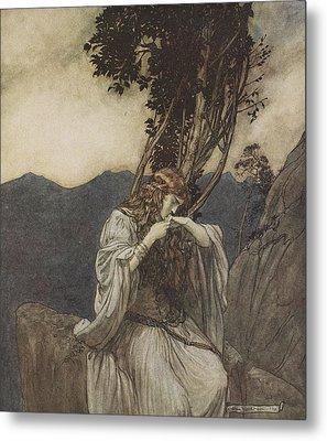 Brunnhilde Kisses The Ring That Siegfried Has Left With Her Metal Print by Arthur Rackham