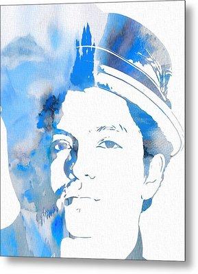 Bruno Mars Blue Watercolor Metal Print by Dan Sproul
