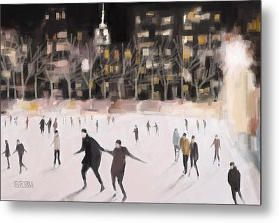 Bryant Park Ice Skaters New York At Night Metal Print by Beverly Brown Prints