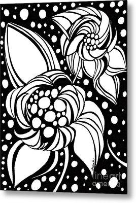 Bubble Flowers Metal Print by Sarah Loft