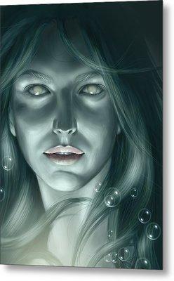 Bubble Mermaid Metal Print by Bernadett Kovacs