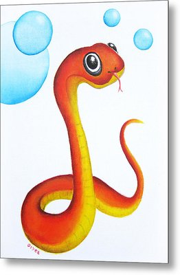 Bubbly Baby Snake Metal Print by Oiyee At Oystudio