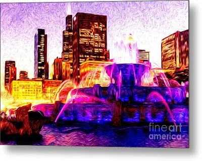 Buckingham Fountain At Night Digital Painting Metal Print by Paul Velgos
