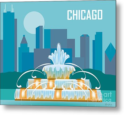 Buckingham Fountain Chicago Metal Print by Karen Young