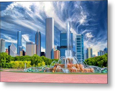 Buckingham Fountain Skyscrapers Metal Print by Christopher Arndt
