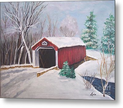 Bucks County Covered Bridge Metal Print by Lucia Grilletto