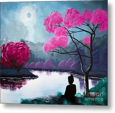 Buddha By The Lake Metal Print by Mindah-Lee Kumar