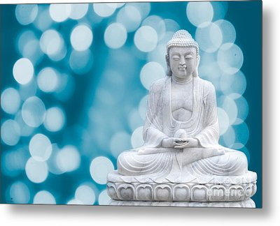 Buddha Enlightenment Blue Metal Print by Hannes Cmarits