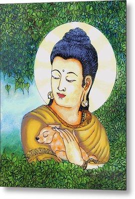 Buddha Green Metal Print by Loganathan E