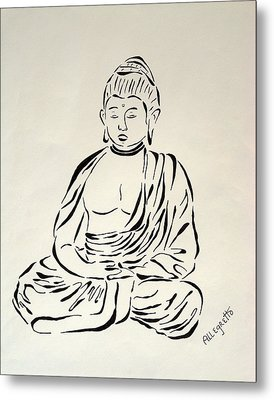 Buddha In Black And White Metal Print by Pamela Allegretto