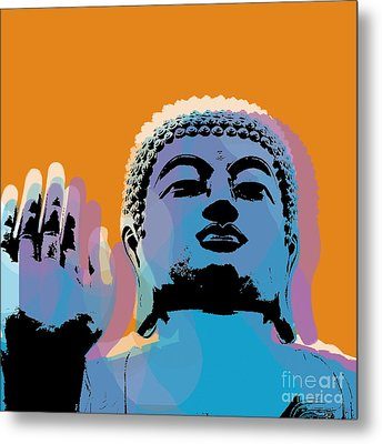 Buddha Pop Art - Warhol Style Metal Print by Jean luc Comperat