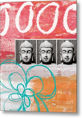Buddha With Flower Metal Print by Linda Woods