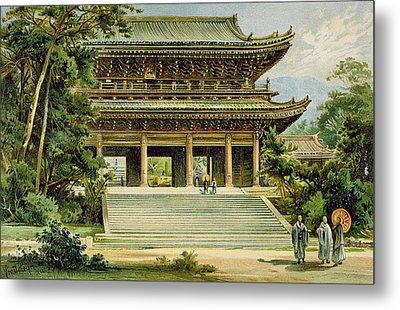 Buddhist Temple At Kyoto, Japan Metal Print by Ernst Heyn