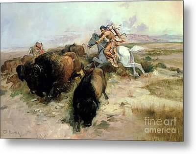 Buffalo Hunt Metal Print by Charles Marion Russell