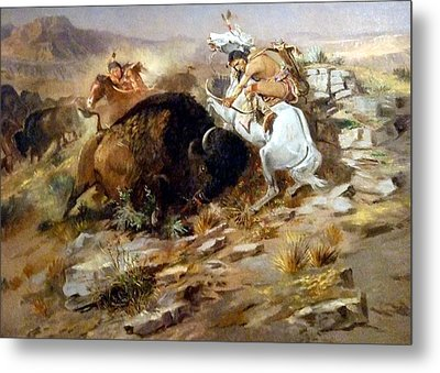 Buffalo Hunt Metal Print by Charles Russell