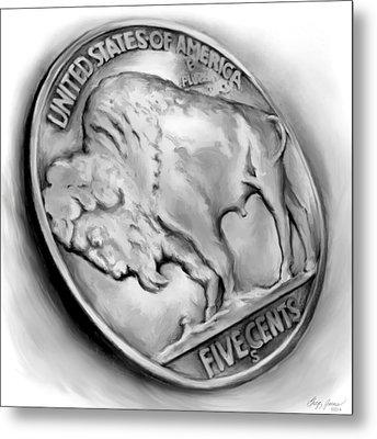 Buffalo Nickel 2 Metal Print by Greg Joens