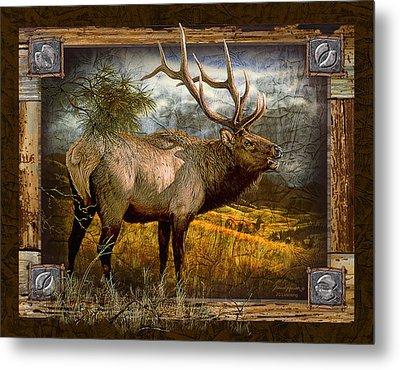 Bugling Elk Metal Print by JQ Licensing