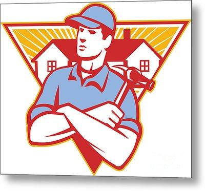 Builder Construction Worker Hammer House Metal Print by Aloysius Patrimonio