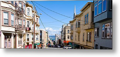 Buildings In City With Bay Bridge Metal Print by Panoramic Images