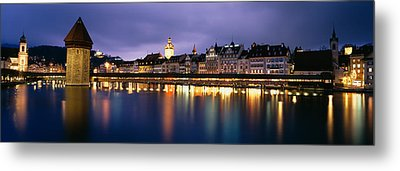 Buildings Lit Up At Dusk, Chapel Metal Print by Panoramic Images